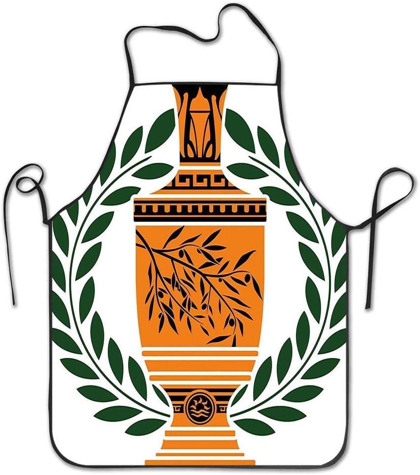 Not Applicable Jarrón Griego Antiguo Antiguo con Motivo de Rama de Olivo y Delantal de Corona de Laurel para Cocina BBQ Barbecue Cooking Chef Gift para Mujeres/Hombres