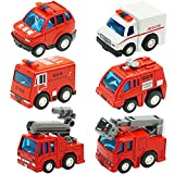 CORPER TOYS Fire Engine Truck Mini Pullback Vehicles Toys Fire Rescue Set for Kids Toddlers Boys Firetrucks - 6 pieces