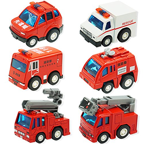 UiiQ Fire Truck Toys Fire Engine Vehicles Truck Die Cast Alloy Mini Rescue Emergency Car Model Pull Back Vehicles Playset for Kids - 6pcs