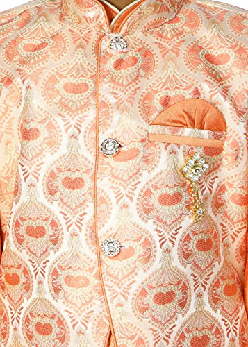 Ahhaaaa Kids Ethnic Indian Dupion Silk Kurta Pyjama and Waistcoat Set for Baby Boys (9-10 Years, Orange) by ahhaaaa (Image #4)