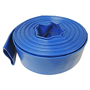 "Maxx Flex 50 ft - 4 Bar Heavy Duty Reinforced PVC Lay Flat Discharge and Backwash Hose (1.5"" Dia. x 50 ft)"