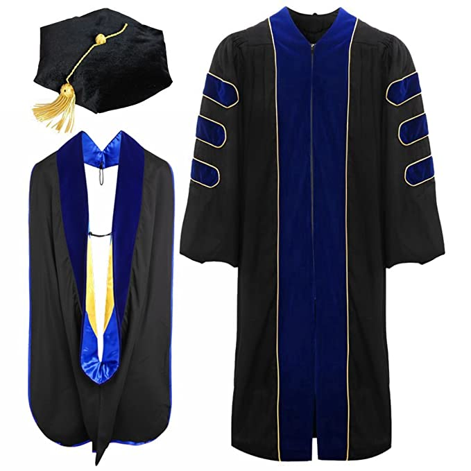 Deluxe Doctoral Graduation Gown Tam Hood: Amazon.ca: Clothing ...