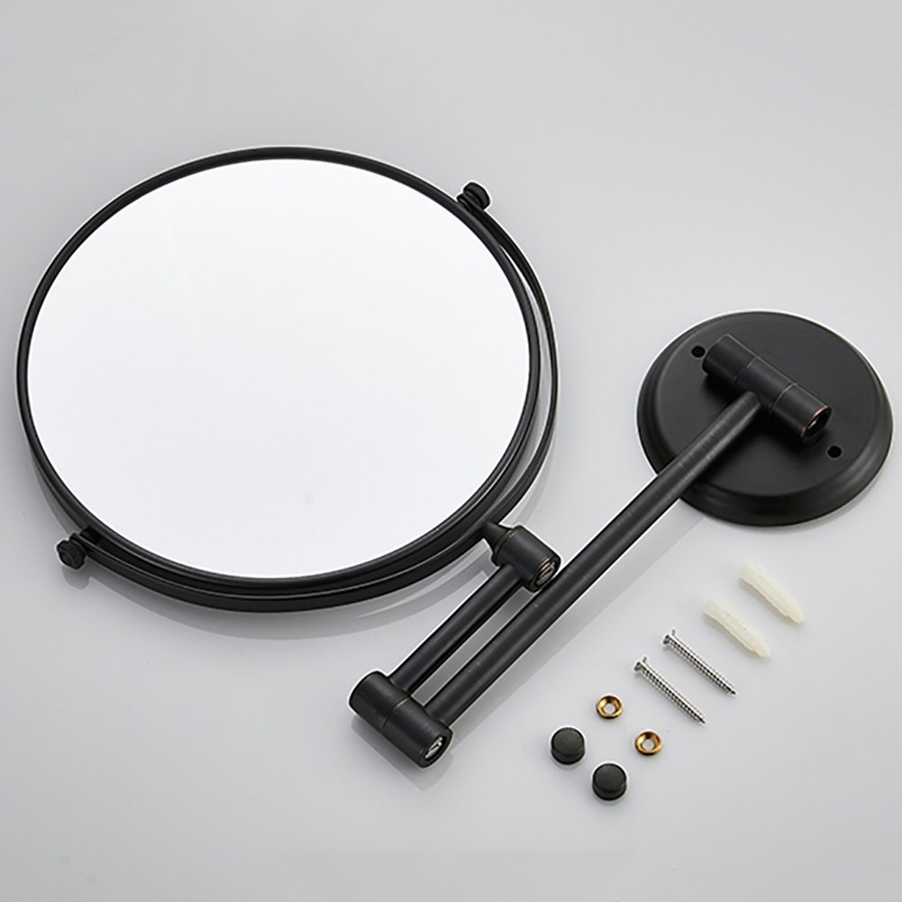 ZfgG 8 Inch Wall Mounted Shaving Mirror,3X Magnification Bathroom Makeup Mirror, Extending Folding Double Side Cosmetic (Color : Black) by MXueei Bathroom mirror (Image #4)