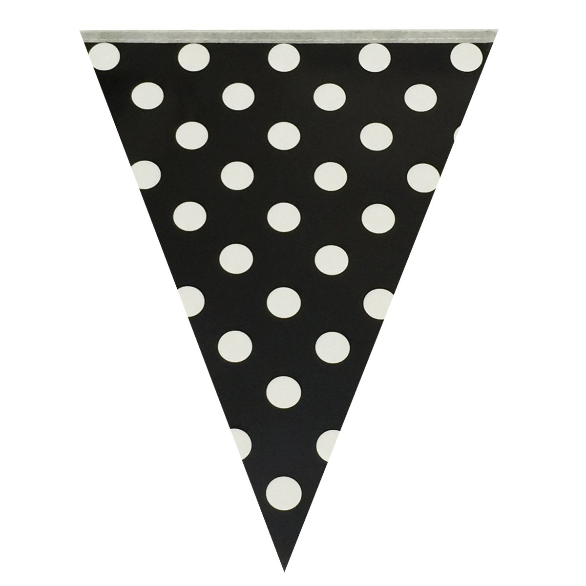 Wrapables Triangle Pennant Banner Party Decorations for Birthday Parties/Baby Showers/Nursery Decor/Picnics and Bake Sales, Black Polka Dots