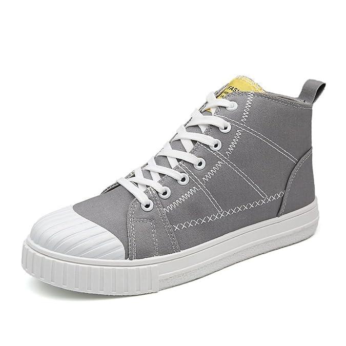Otoño/Verano 2018 Zapatos Deportivos Planos para Hombre Zapatos con Cordones Ocasionales Mocasines Altos de Lona monocromos: Amazon.es: Zapatos y ...