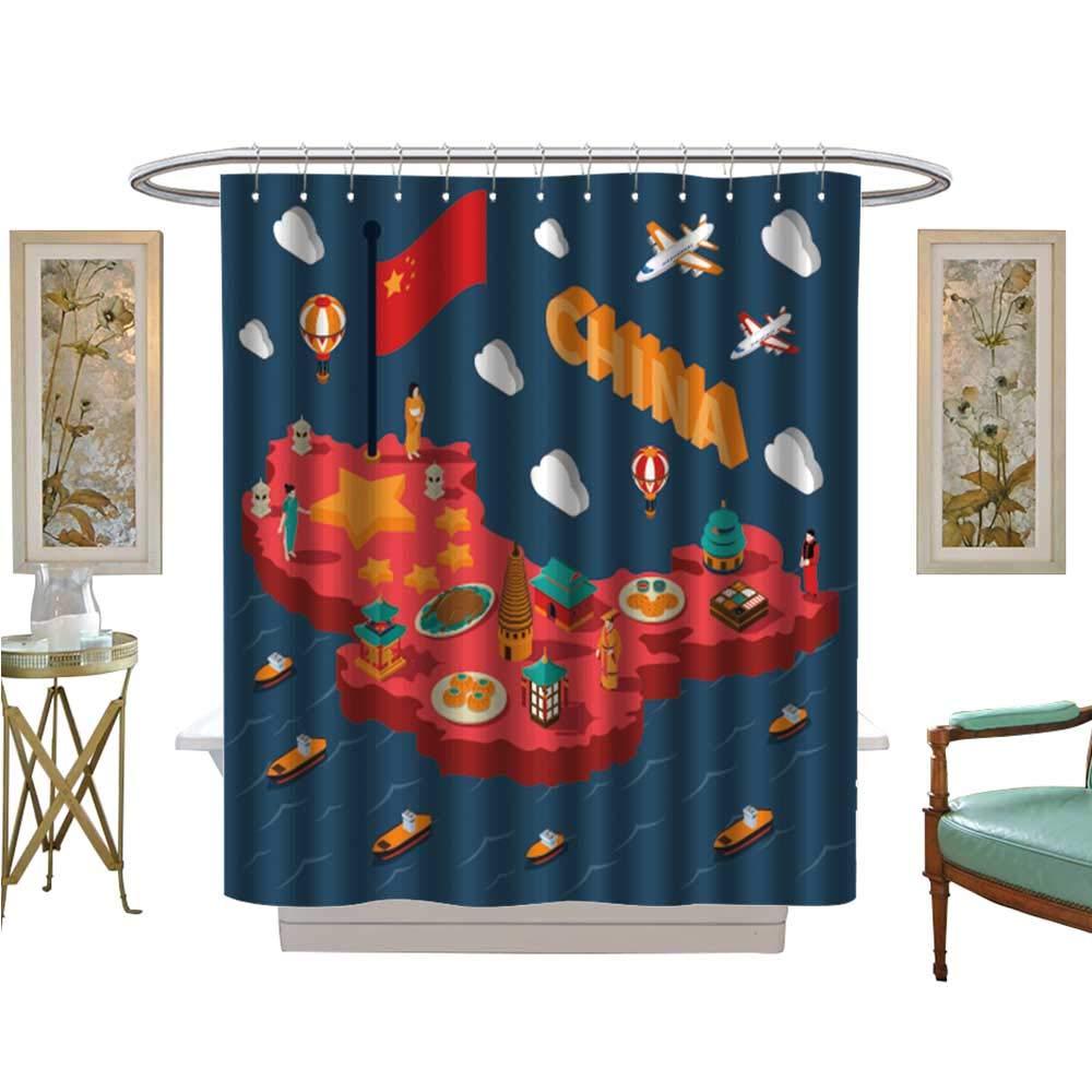 luvoluxhome シャワーカーテンセット 浴室 中国 非常に詳細 政治地図 ラベル付き バスルーム装飾セット フック付き W36
