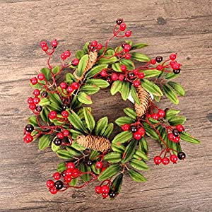 16 Inch European Flower Door Wreath Handmade Artificial Floral Garland with Red Berry Pine Cone for Front Door Display Wedding Farmhouse Home Wall Christmas Decoration 4