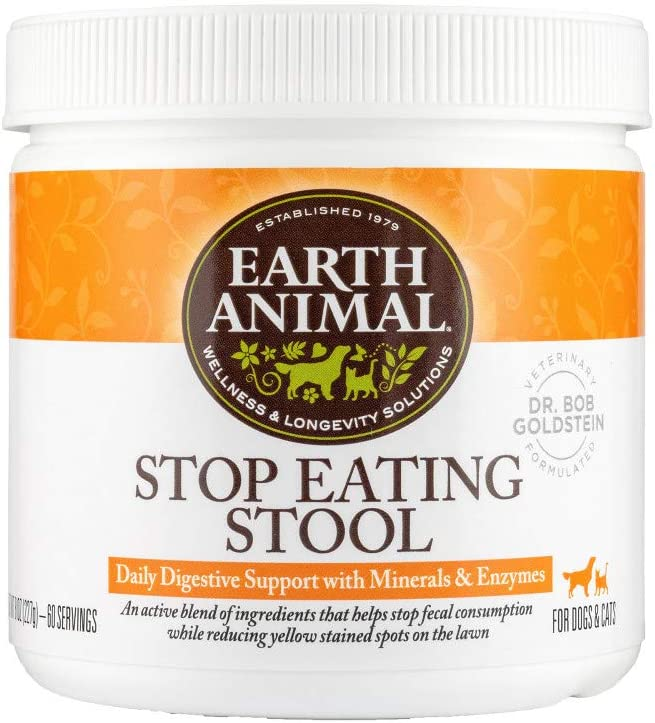 Earth Animal Stop Eating Stool Nutritional Supplement for Dogs & Cats, 8 oz. Container