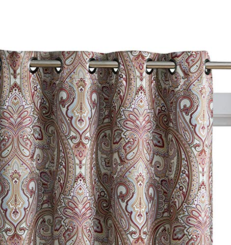 """HLC.ME Paris Paisley Print Damask Thick Thermal Insulated Energy Efficient Room Darkening Blackout Grommet Top Window Curtain Panels for Bedroom & Living Room - Set of 2-50"""" W x 84"""" L (Spice Red)"""