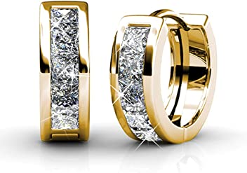 4918bcb2d Cate & Chloe Giselle 18k White Gold Plated Crystal Hoop Earrings with  Swarovski, Beautiful Sparkling