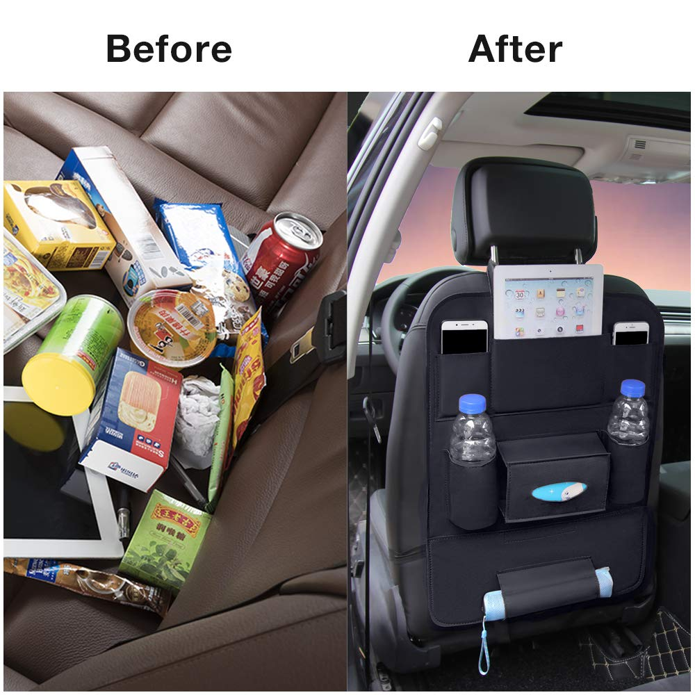 1 Pack QUEES Car Seat Protector with Backseat Organizer Table Tray Foldable Dining Table with iPad and Tablet Holder Travel Accessories Organizer