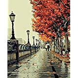 KXCFCYS® New arrival DIY Oil Painting by Numbers Kit Theme PBN Kit for Adults Girls Kids White Christmas Decor Decorations Gifts - autumn (With Frame)