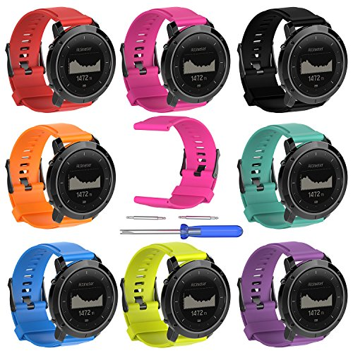 Replacement band for Suunto Traverse Watch, Silicone Watch Band Fitness Bands Bracelet Sport Strap WristBand Accessory with Screwdriver for Suunto Traverse series Watch