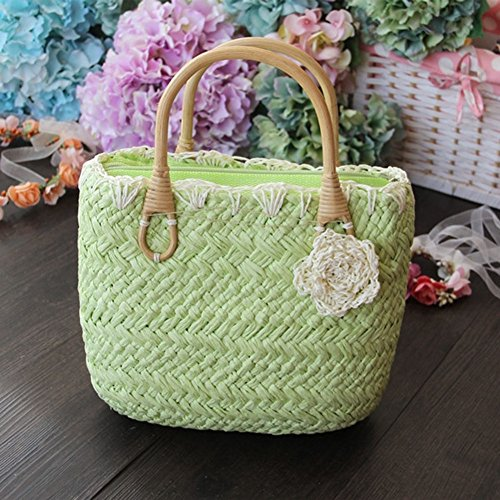 Handbag Woven Tote Flowers Lovely Beach FAIRYSAN Bags Green Top Exquisite Fruit with Shopping Straw Small Handle tq1gaFwH