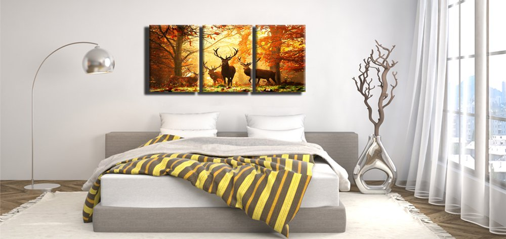Ready to Hang for Living Room Bedroom Office Deer in Autumn Forest Wall Art,Print on Canvas,3 Panels Stretched and Framed Landscape Wall Art 12X16inchX3pcs, Yellow xinqi art /並/行/輸/入/品