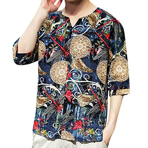 - LUCAMORE Mens Half Sleeve Linen Shirts Chinese Style Printed V-Neck Frog Lightweight T-Shirt Blouse Tops Blue