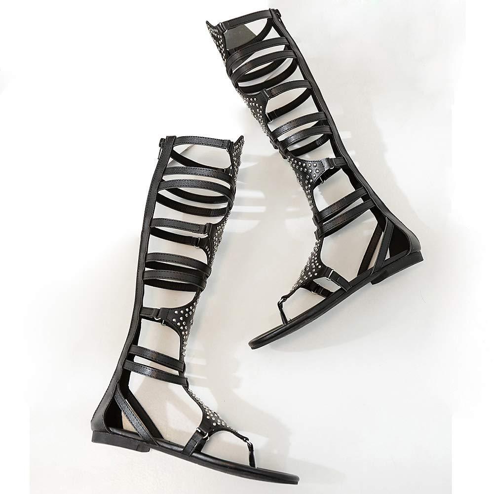 319d907b6b509 Amazon.com: anufer Womens Knee High Roman Gladiator Sandals Rivets ...