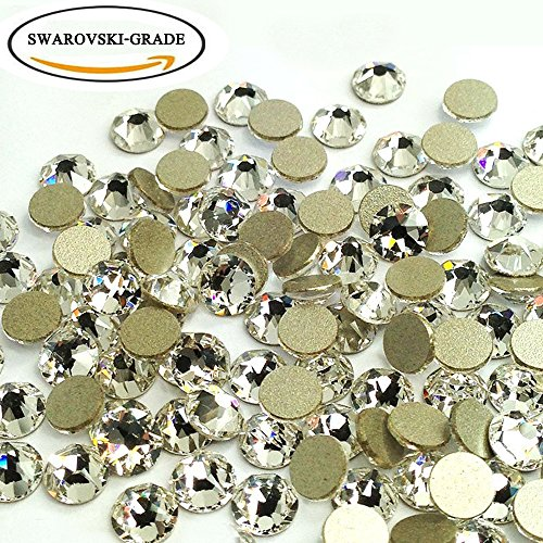 Clear SWAROVSKI-GRADE No-Hotfix Non-self-adhesive Flat Back Round Diamante Gem Rhinestones for DIY Crafts Decorating (5mm) (Fix Swarovski Flat Back Crystal)