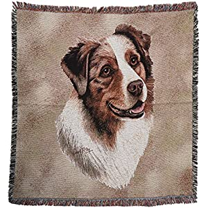 Pure Country 1183-LS Australia Shep Pet Blanket, Canine on Beige Background, 54 by 54-Inch