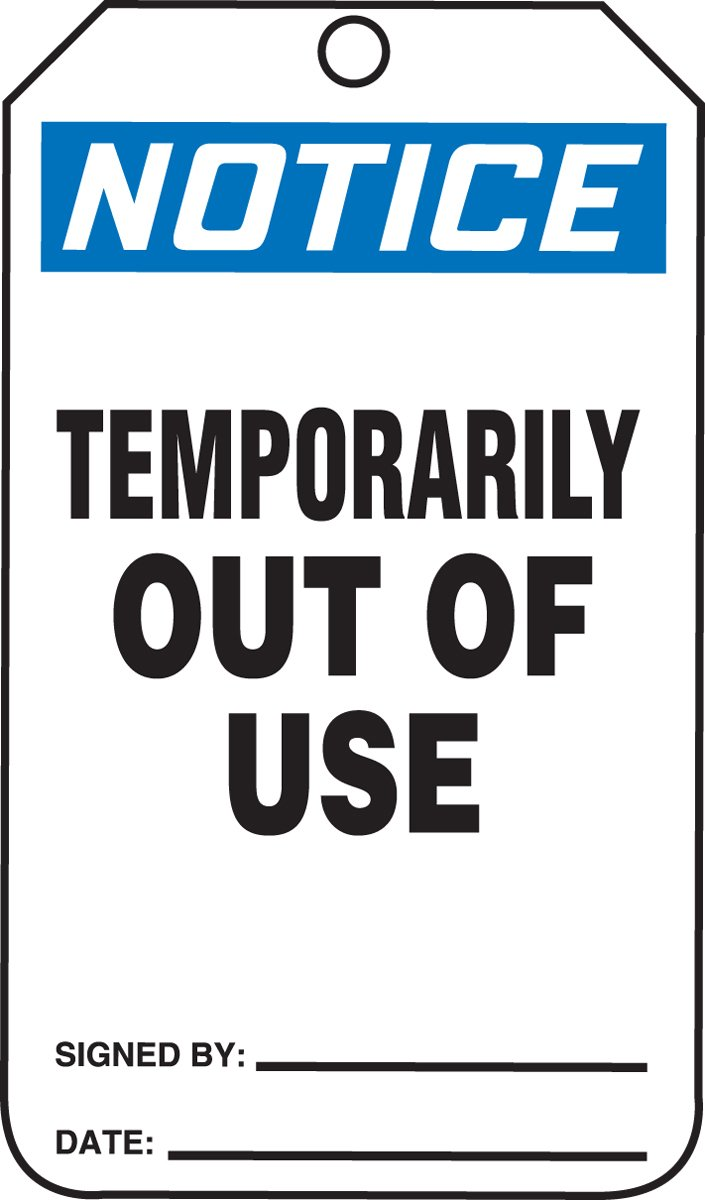 Accuform MDT819CTM PF-Cardstock SAFETY Tag, Legend''Notice Temporarily Out of Use'', 5.75'' Length x 3.25'' Width x 0.010'' Thickness, Blue/Black on White (Pack of 5)