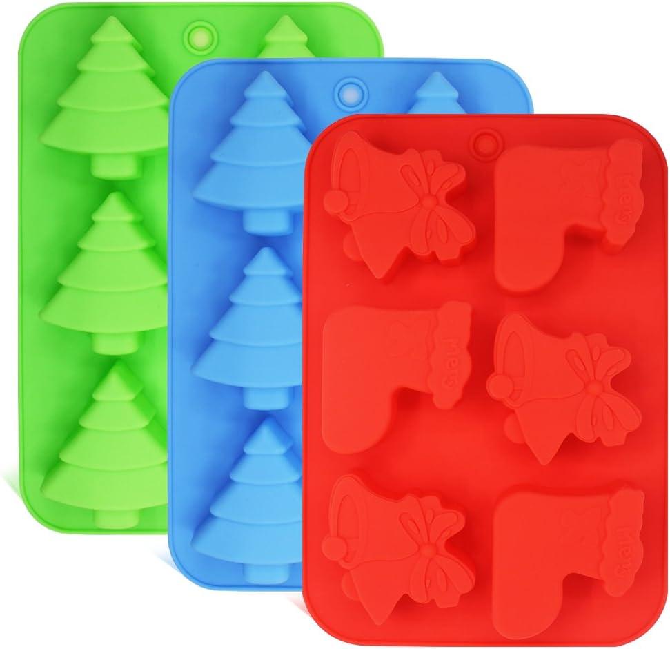 FineGood Pack de 3 moldes de Silicona, Formas de árboles de Navidad, Calcetines y Campanas