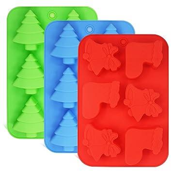 Pack de 3 moldes de silicona, formas de árboles de Navidad, calcetines y campanas
