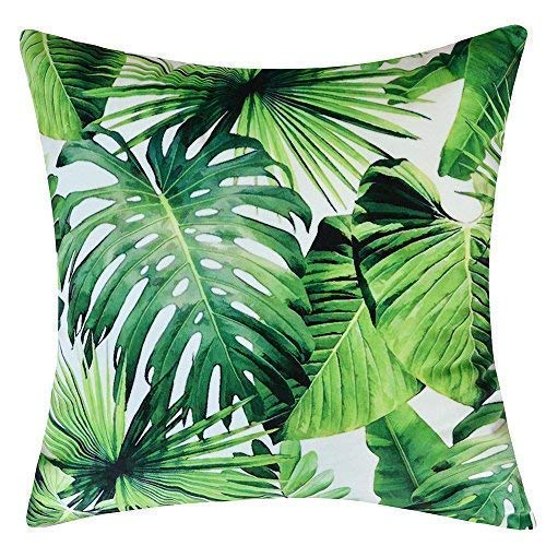 JWH Tropical Rainforest Accent Pillow Case Left Print Decorative Cushion Cover Summer Green Home Car Sofa Bed Living Room Outdoor Decor Pillowslip Soft Velvet Shell 18 x 18 Inch