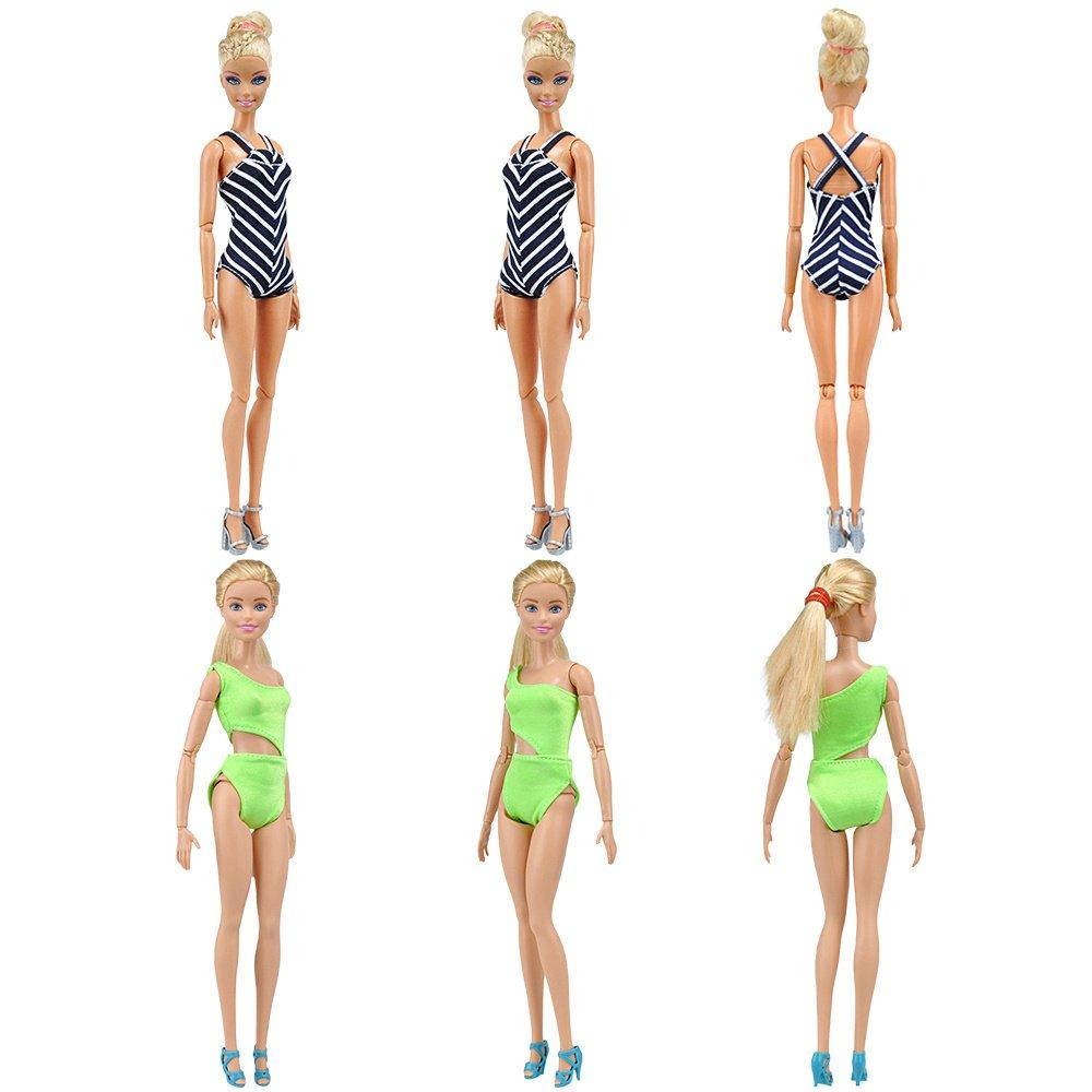 Amazon.es: E-TING 5 conjuntos Bikini Traje de Baño Vestir Ropa para Muñecas Barbie Doll (Swim Style A): Juguetes y juegos