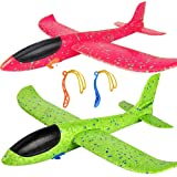 """2 Pack Airplane Toys, Upgrade 17.5"""" Large Throwing Foam Plane, 2 Flight Mode Glider Plane, Flying Toy for Kids, Gifts for 3 4"""