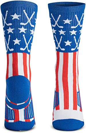 ChalkTalkSPORTS Hockey Half Cushioned Crew Socks | Patriotic | Red/White/Blue
