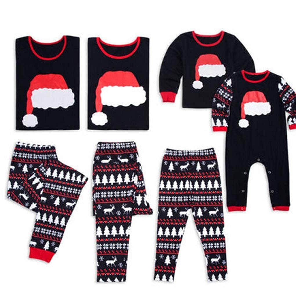 Family Matching Christmas Pajamas Christmas Stanta Hat Pattern Long Sleeve Tops Pants Sleepwear Set