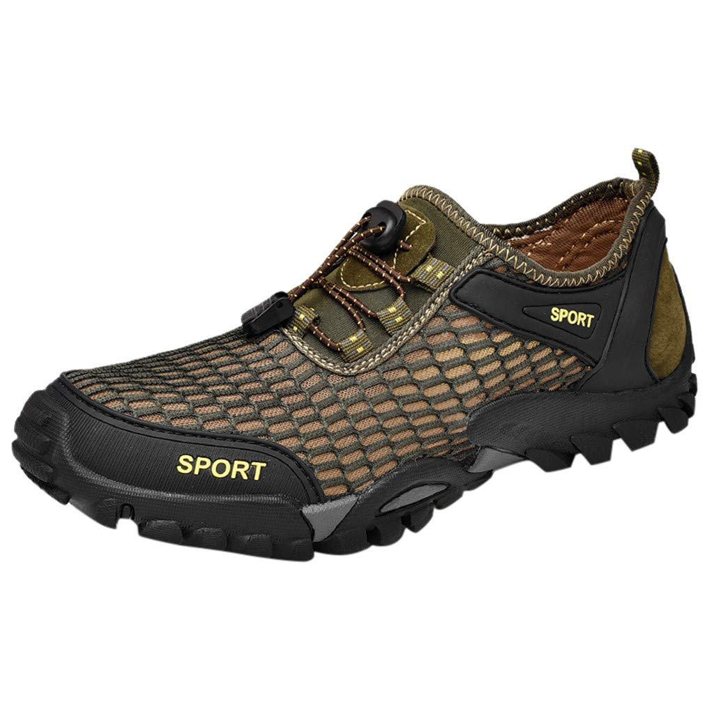 DDKK Men's Trail Running Shoes mesh Breathable Lightweight Comfort -Walking Sneakers Youth Big Boys Tennis Shoes Black,Gray,Green,Brown-Size 7.5-12