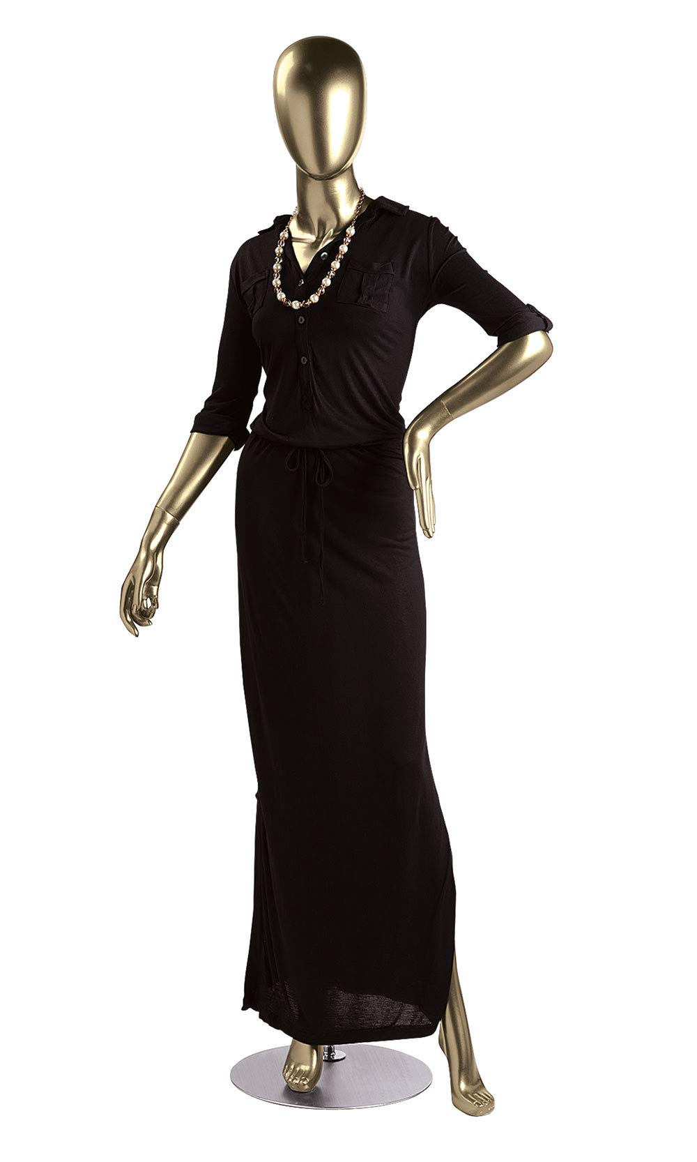 Female Gold Fiberglass Mannequin - Height 5'10'' - with Base