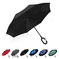 TOOGE Umbrella Inverted/Reversible, Windproof Umbrella Double Layer Inside-Out Hands Free Self-Standing for Women and Men