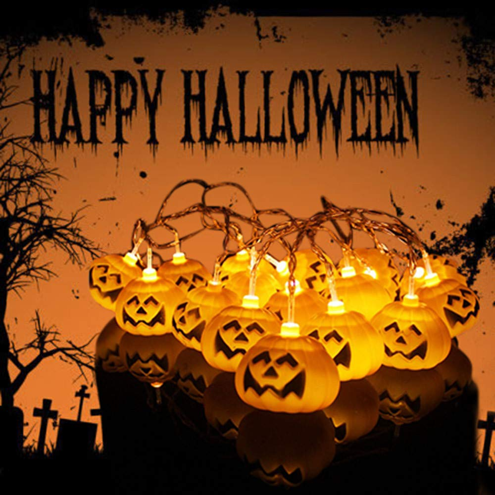 Luckhome Halloween Party Ghost Festival Pumpkin LED Battery Lantern String Decoration