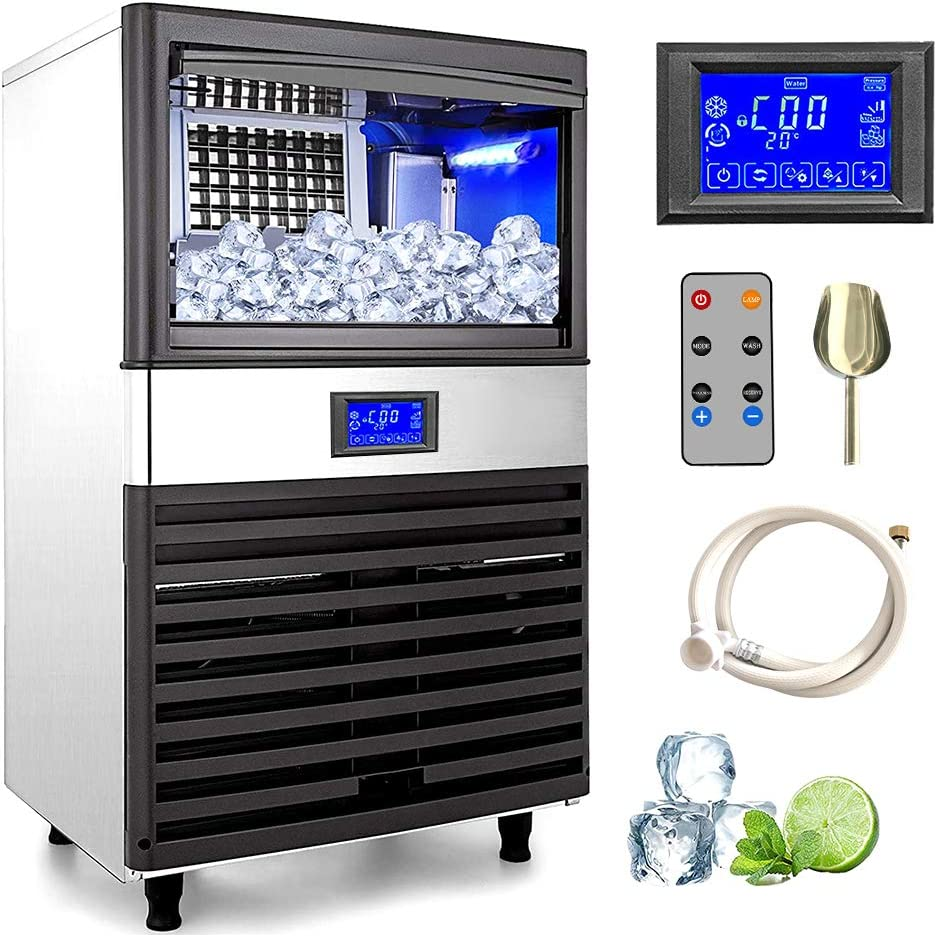 Commercial Ice Maker Machine,Stainless Steel Ice Cube Machine with LCD screen, Ice Maker Machine Ideal for Home,Office,Restaurant,Bar,Coffee Shop.110lb