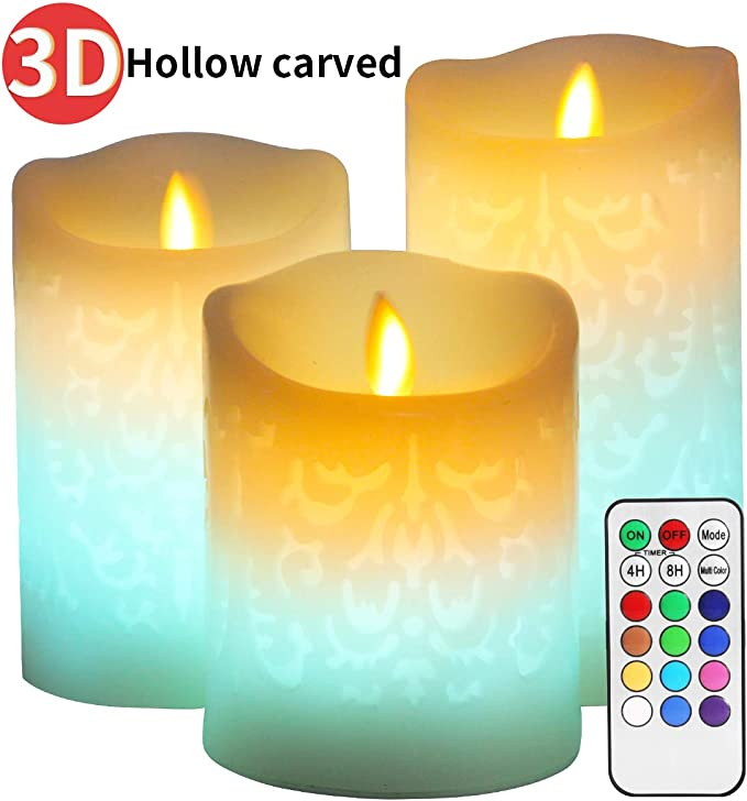 Amazon.com: Color Changing LED Candle,Carved 3D Pattern Designs,Real Wax Flickering Moving Wick Flameless Candles with Remote Timer for Wedding Decor,Christmas Decorations: Home Improvement