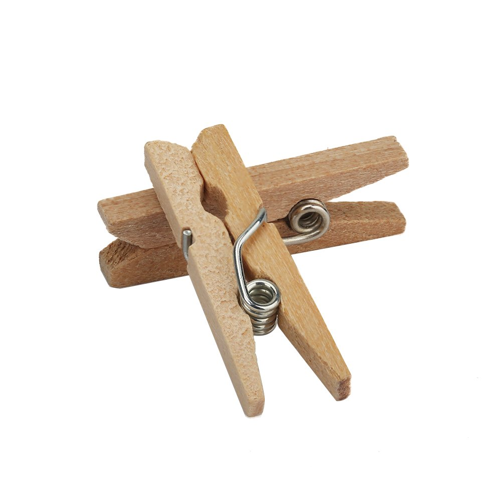 Natural Home Decoration and Party Tenn Well Mini Wooden Pegs 100pcs 1Inch Natural Wooden Clothespins for Photos Crafts