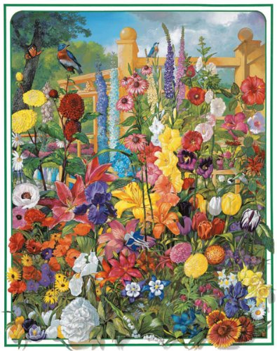 White Mountain Puzzles Perennials - 1000 Piece Jigsaw Puzzle (Perennials Blue Flowers)