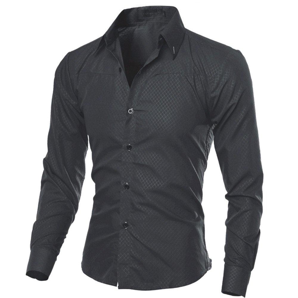 HTOOHTOOH Mens Long Sleeve Party Printing Slim Fashion Button Down Dress Shirts