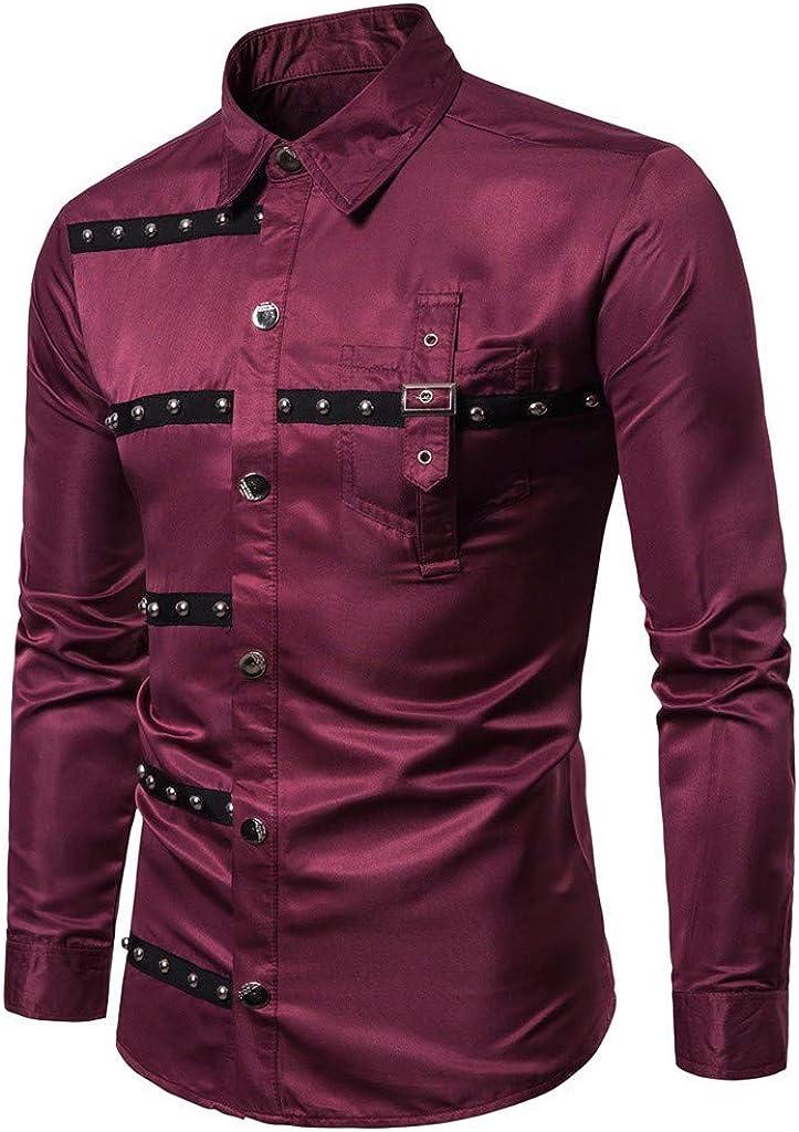 Aiserkly - Camisa de manga larga para hombre, diseño de rayas ...