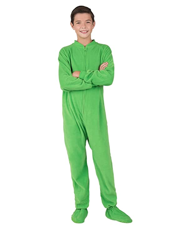 Amazon.com  Footed Pajamas - Emerald Green Kids Fleece Onesie  Clothing 956735d23