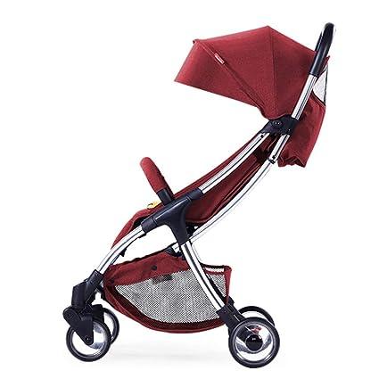ALIFE Silla de Paseo compacta Cochecito para Bebé Plegable Carrito Baby Jogger Carriage Gris,Red