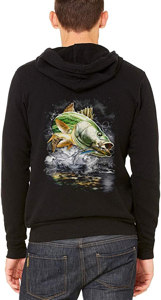 Mens Striped Bass Fish Black Fleece Zipper Hoodie Black