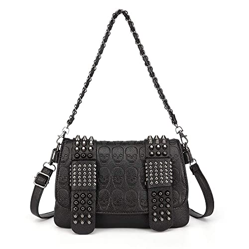 43d7385ebbf440 Chikencall Womens Punk Skull Print Crossbody Bag PU Leather Gothic Skull  Shoulder Bag Purse with Chain: Handbags: Amazon.com