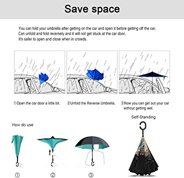 Windproof And Rainproof Double Folding Inverted Umbrella With C-Shaped Handle UV Protection Inverted Folding Umbrellas Lilo Stitch Car Reverse Umbrella