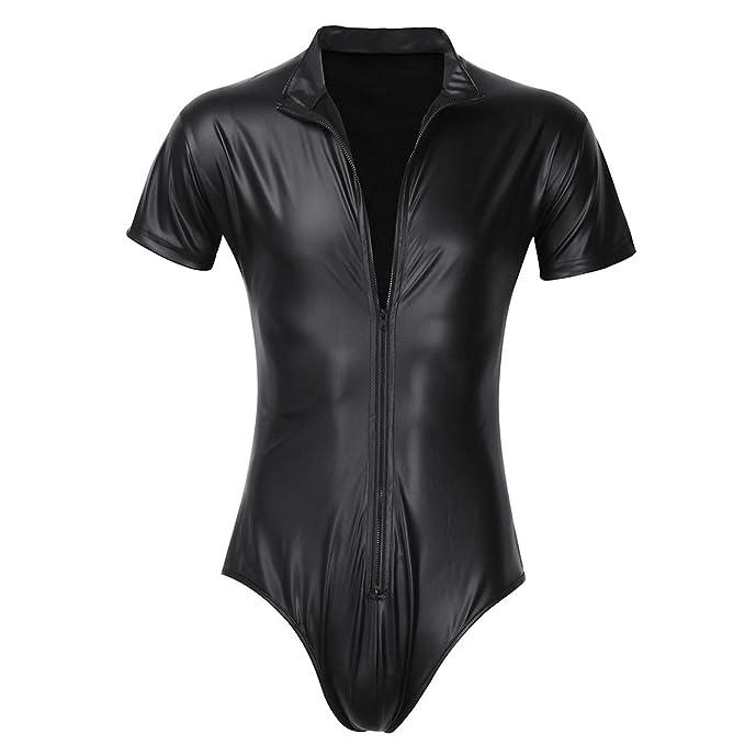 YIZYIF Conjunto sexy Lencería Hombre una pieza Leotardo Ropa interior de Charol Negro Negro S