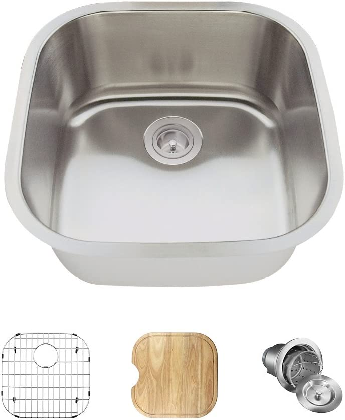 2020 18 Gauge Stainless Steel Kitchen Ensemble (Bundle - 4 Items: Sink, Basket Strainer, Sink Grid, and Cutting Board)