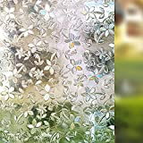 Rabbitgoo® 3D Blossoms No Glue Static Cling Decorative Film Privacy Glass Window Films 35.4in. By 78.7in. (90cm By 200cm) (Attention: No Enough Privacy for Bathroom)