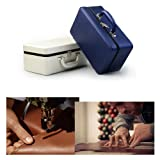 Oirlv Blue Leather Jewelry Box Handmade Travel